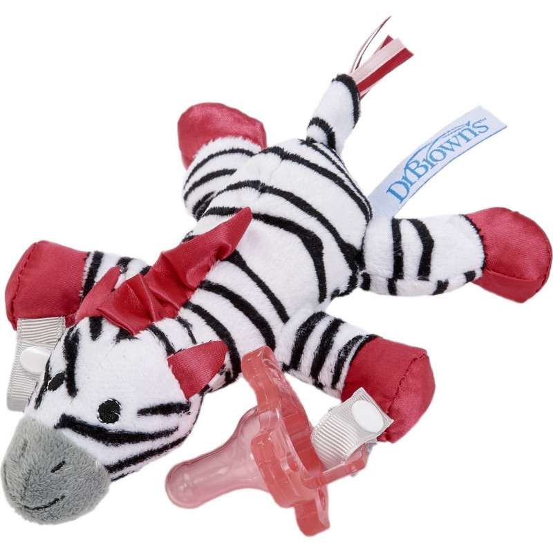 Dr. Brown's Zoey the Zebra Lovey Pacifier & Teether Holder 0m+